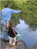 Adult showing child how to cast a line when fishing